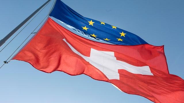 Las bandieras da la Svizra e l'UE en il vent.