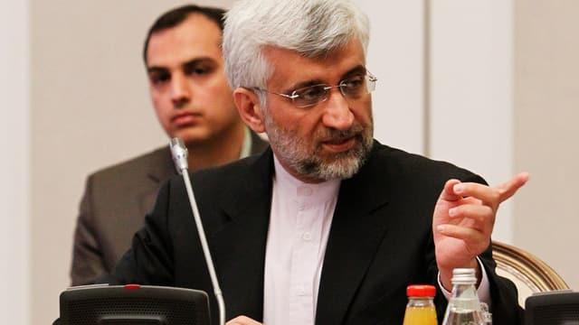 Der iranische Atom-Unterhändler, Saeed Jalili, während der Konferenz in Almaty.