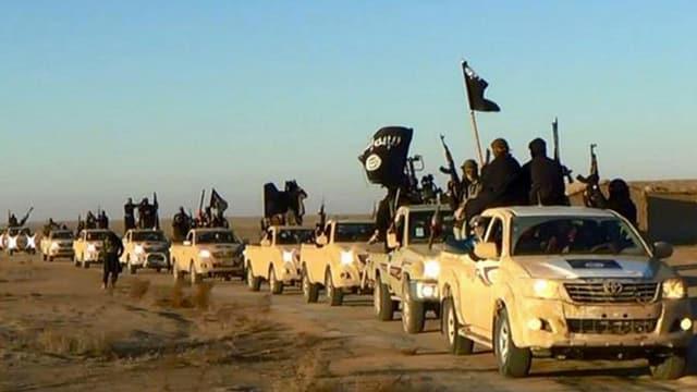 Ina colonna d'autos da la milissa da terror Stadi Islamic