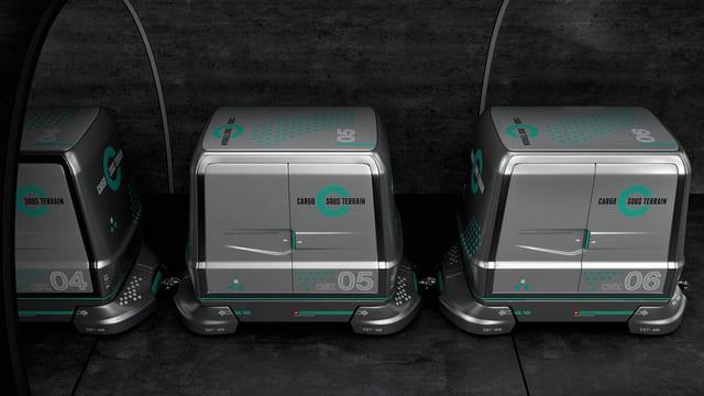 "Cars electrics che l'interprera ""Cargo sous terrain"" vul duvrar per transportar rauba tranter las citads grondas da la Svizra."