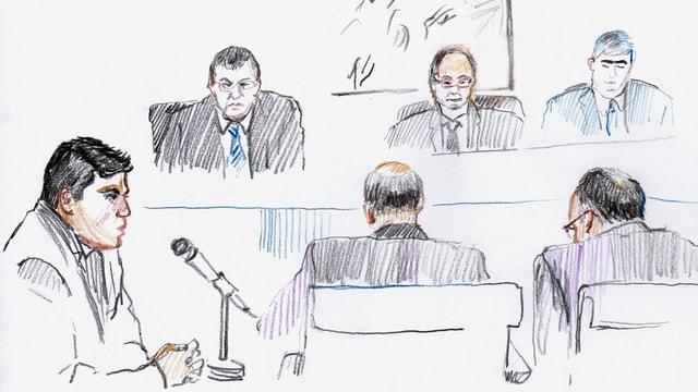 Zeichnung einer Gerichtsverhandlung: drei Richter, Angeklagter, Staatsanwalt und Verteidiger