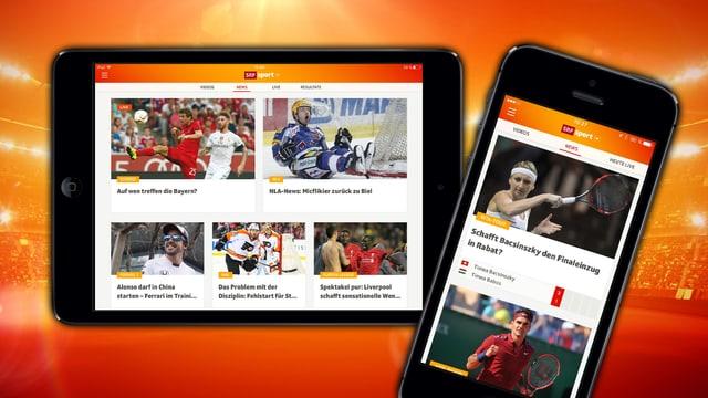 Ein Blick in die Sport App von SRF.