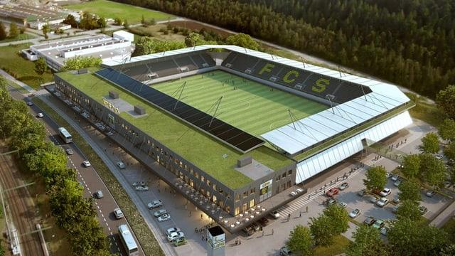 Ansicht des Stadions Schaffhausen von oben.