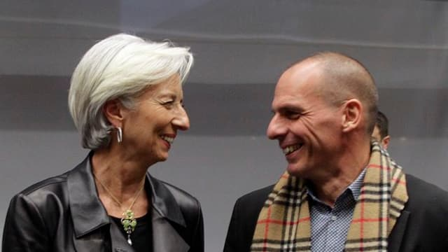 Christine Lagarde e Yanis Varoufakis rin in si per l'auter.