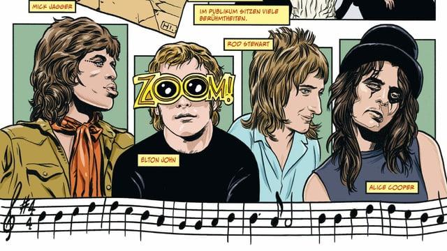 Eine Seite aus einem Comic mit mehreren Pop-Künstlern abgebildet