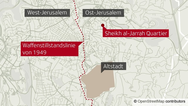 Karte mit Quartieren von Jerusalem.