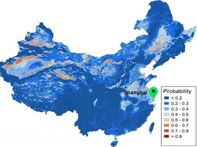 Die Karte zeigt die Wahrscheinlichkeit für gefährliche Arsenkonzentrationen über zehn Mikrogramm in China.