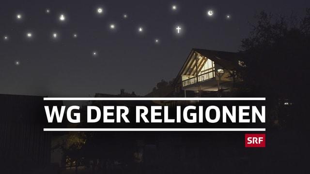 Sendungs-Logo WG der Religionen - das Haus der WG leuchtet in der Nacht