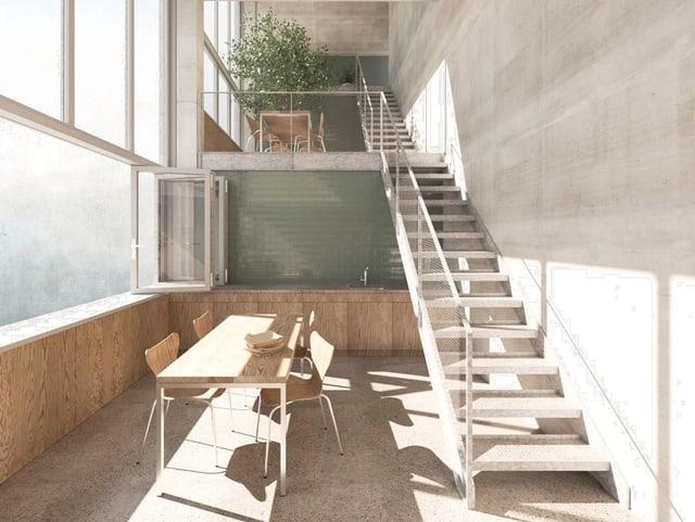 Die Wohnungen sind mit einer Mischung aus Beton und Holz schlicht gehalten.