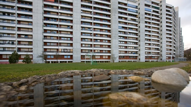 Bild einer Reihe von Hochhäusern, im Vordergrund Rasen und ein Teich.