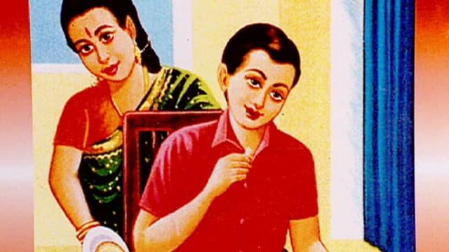 Eine Mutter legt dem Sohn Pancakes auf den Teller (gezeichnetes Bild).