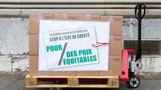 Karton mit Unterschriften zur Fair-Preis-Initiative