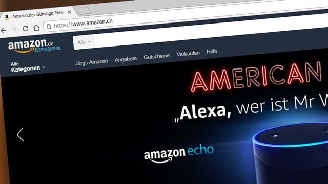 Ein Screenshot zeigt die deutsche Amazon-Seite, in der Adressleiste des Browsers ist aber «Amazon.ch» zu lesen.