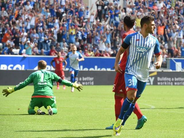 Hoffenheims Kevin Volland jubelt nach dem Rekordtor (9 Sekunden) gegen Bayern München.