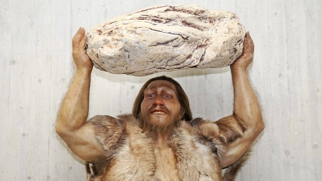 Nachbildung eines Neandertalers, der einen grossen Stein über dem Kopf trägt.