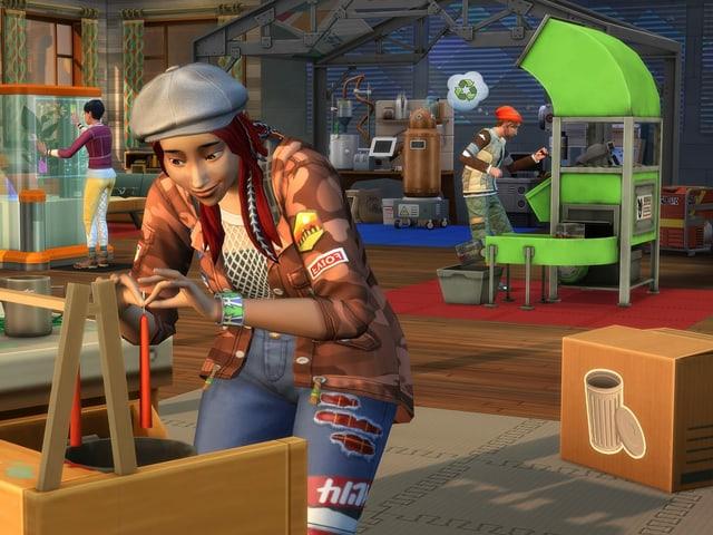Szene aus einem Game: Eine Frau zieht Kerzen, im Hintergrund steht ein Mann an einer grossen, grünen Maschine