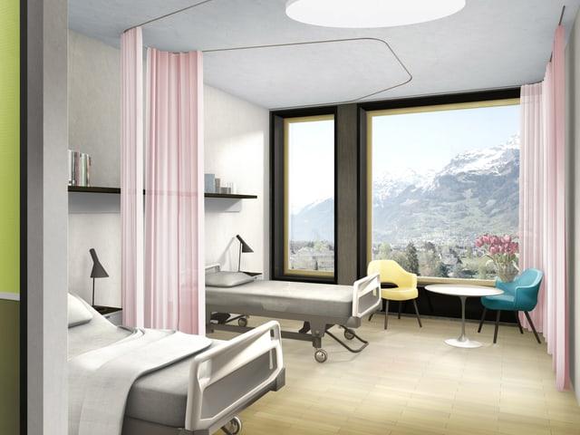 Blick in ein neues Patientenzimmer.