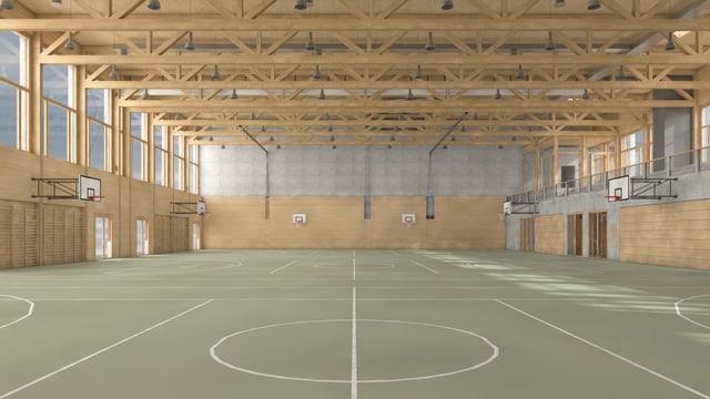 Innenansicht der geplanten Dreifach-Sporthalle bei der Kantonsschule Ausserschwyz.