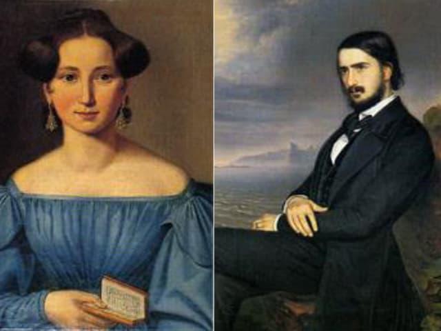 Frau und Mann auf Ölgemälde
