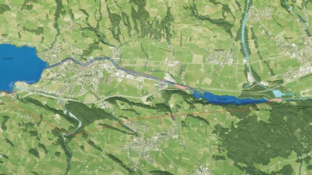 Plan des Hochwasserschutzprojektes im Sarneraatal.