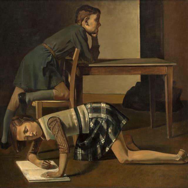 Gemaltes Bild: Ein Junge an einem Tisch, ein Mädchen auf den Knien und vornübergebeugt am Boden.