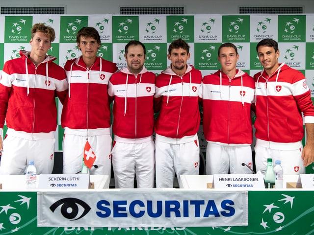 Schweizer Davis Cup Team bei Medienkonferenz
