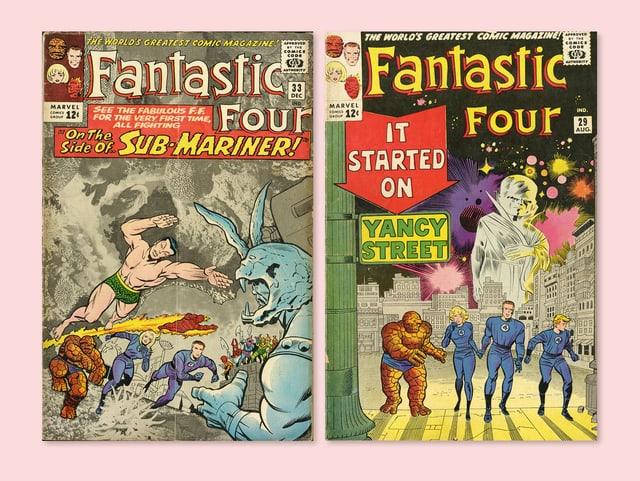 Zwei Comic-Cover vor einem rosaroten Hintergrund