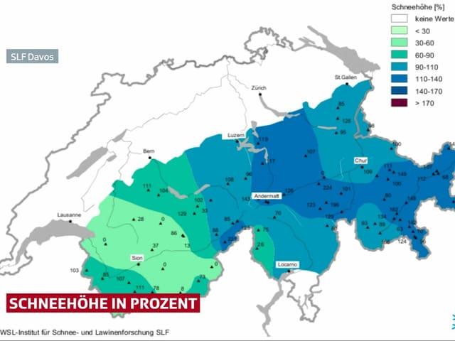 Prozentuale Schneeverteilung in den Alpen.