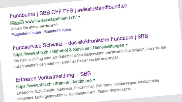 Screenshot Google-Suchliste.