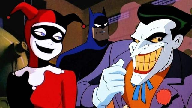 Harley Quinn, Batman und der Joker in einer Szene der TV-Serie «Batman: The Animated Series».
