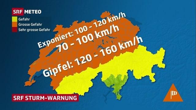 Karte der Schweiz.
