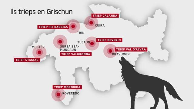 Charta cun inditgà ils 7 trieps da lufs en Grischun.