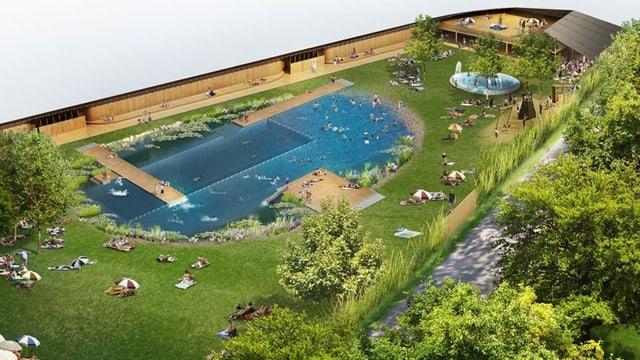 Das geplante Schwimmbecken und Liegewiese des Naturbades Riehen.