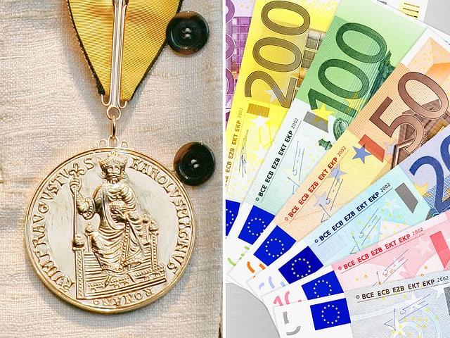 Fotomontage Karlsmedaille und Euronoten