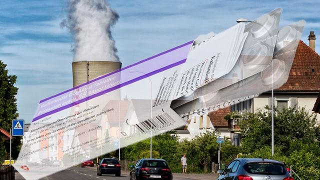 Jodtablettenpackung vor AKW Kühlturm