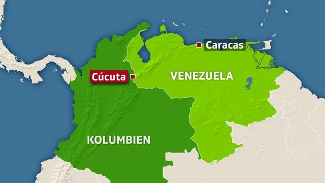 Kartenansicht von nördlichen Teil Südamerikas. Im Westen Kolumbien, im Osten Venezuela. In der Mitte an der Grenze ist die Stadt Cucuta markiert.