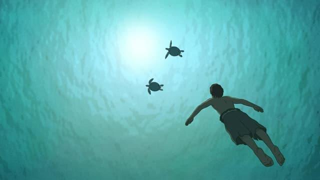 Junge unter Wasser mit zwei Schildkröten schwimmt an die Oberfläche
