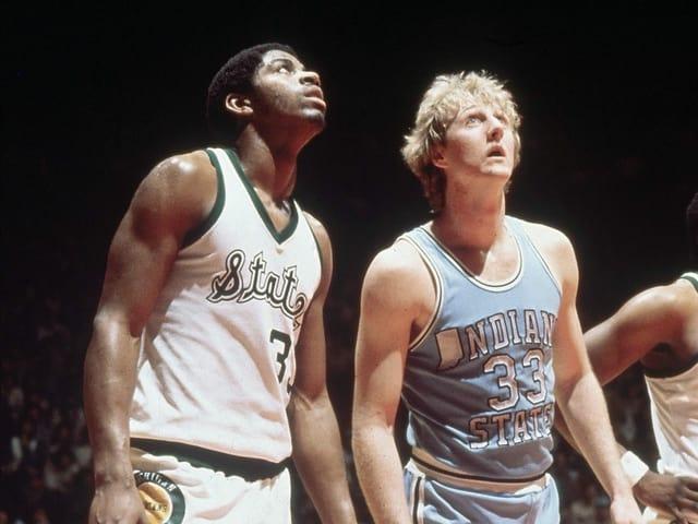 Earvin «Magic» Johnson und Larry Bird treffen im College-Final zwischen Michigan State und Indiana State aufeinander.