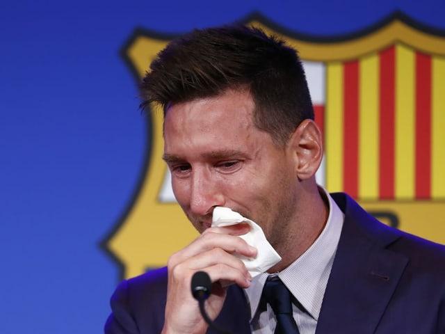 Lionel Messi bei der Medienkonferenz am Sonntagmittag.