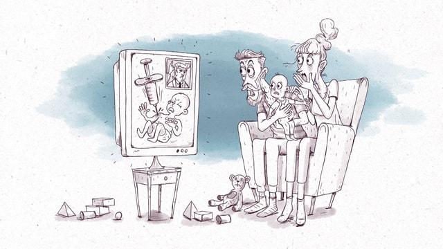 Illustration: Entsetzte Eltern sitzen mit Kind vor dem TV. Ein Kind wird mit einer riesigen Spritze gestochen.