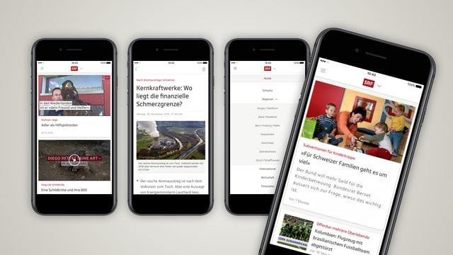 Verschiedene Printscreens der neuen SRF App.