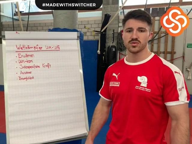 Florian Droux, Judo Trainer vor Tafel