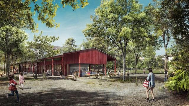 Visualisierung des geplanten Landhofs.