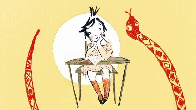 Eine Zeichnung von Bluma, die an einem Pult hockt.