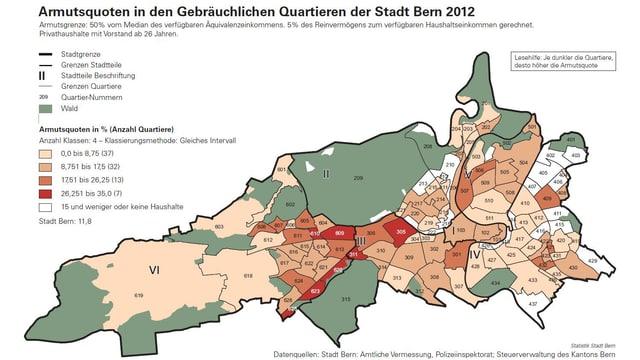 Armut in den Quartieren: Je dunkler desto höher die Armutsquote.