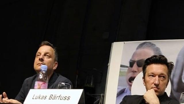 Intendantin Barbara Frey neben den Autoren Thomas Jonigk und Lukas Baerfuss
