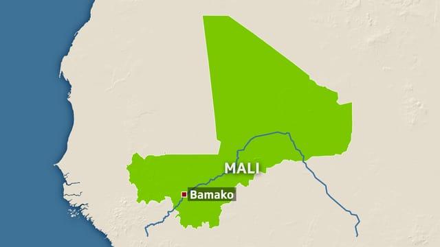 Landkarte von Mali mit der Hauptstadt Bamako.