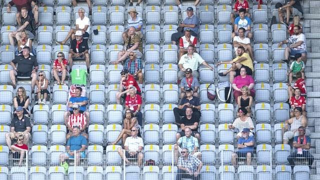 Sitzende Zuschauer mit Abstand in einem Stadion