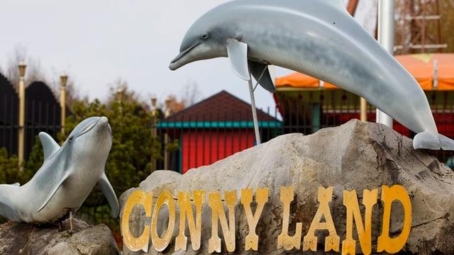 Zwei Delfine über der Schrift Connyland