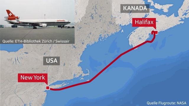 Kartenausschnitt, der die Flugroute zeigt.